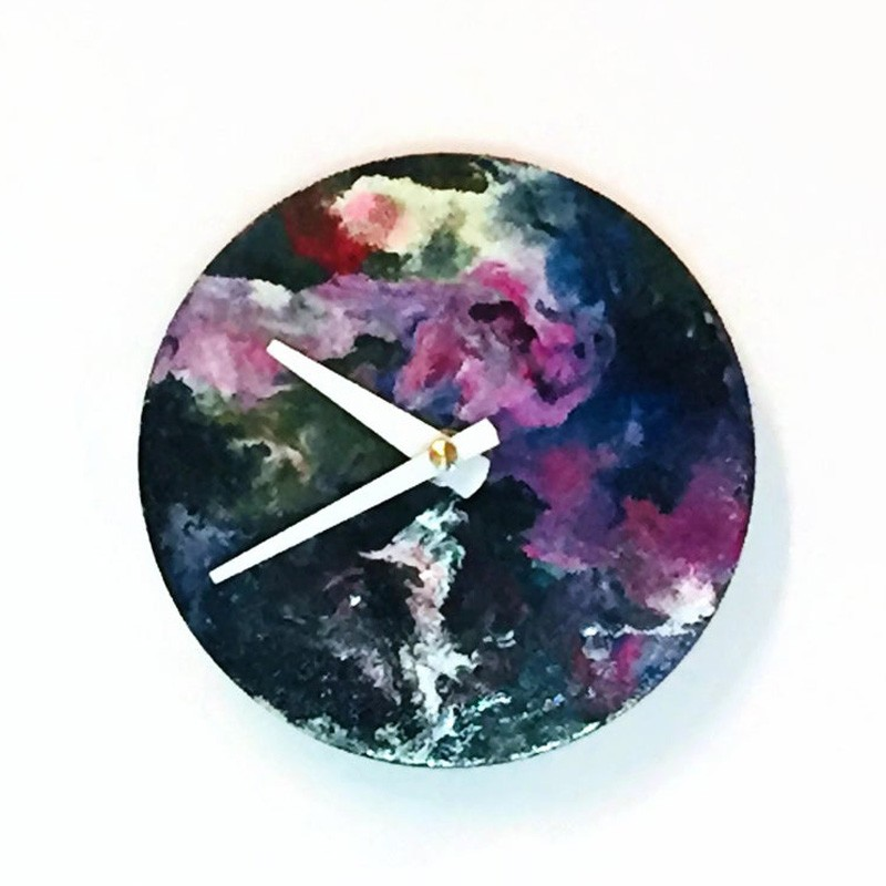 Acrylic Pour Art and Reclaimed Wood Abstract Clock