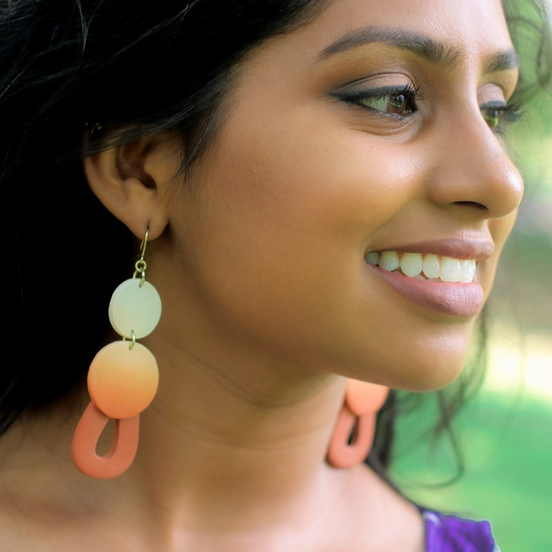 Earthy Lemon Drops - Statement Earrings