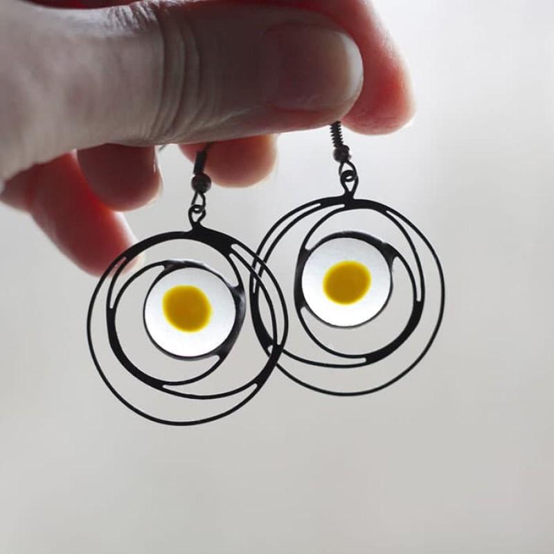 Fried Eggs Galaxy Earrings