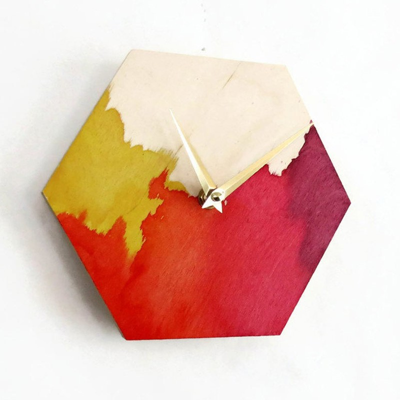Wooden Abstract Watercolor Clock