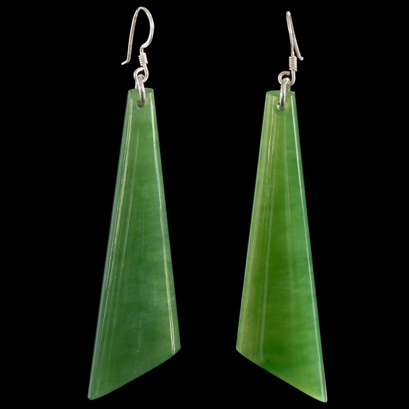 Large hand carved Siberian jade drop earrings