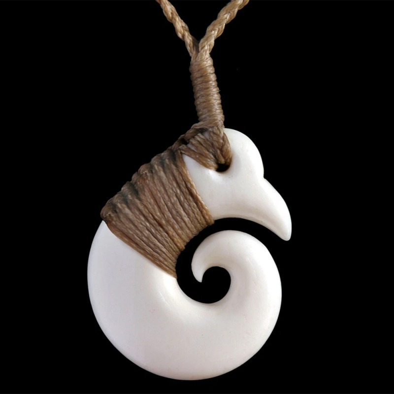 Hand Carved Bone Koru Necklace