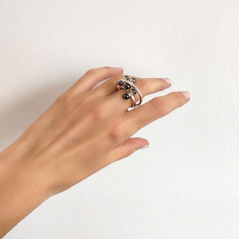 Modern Unique Hematite Ring