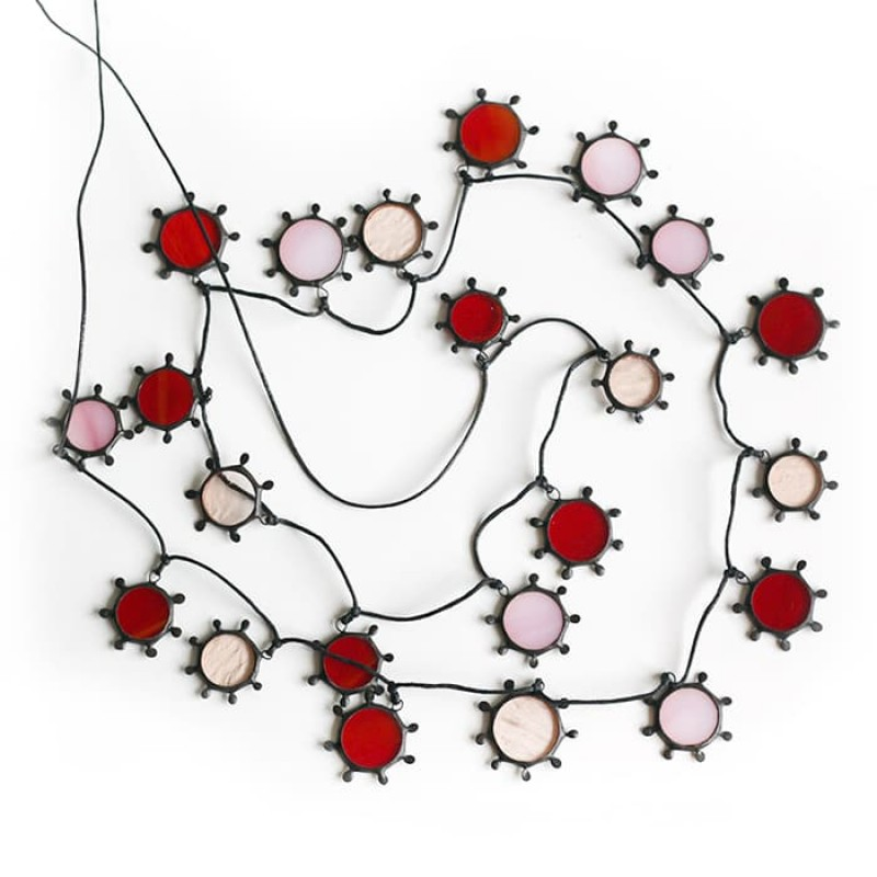 Long Red and Pink Suns Necklace