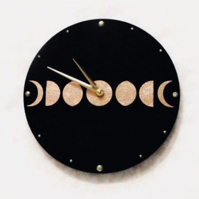 Inque Rose Gold Leather Moon Phase Clock
