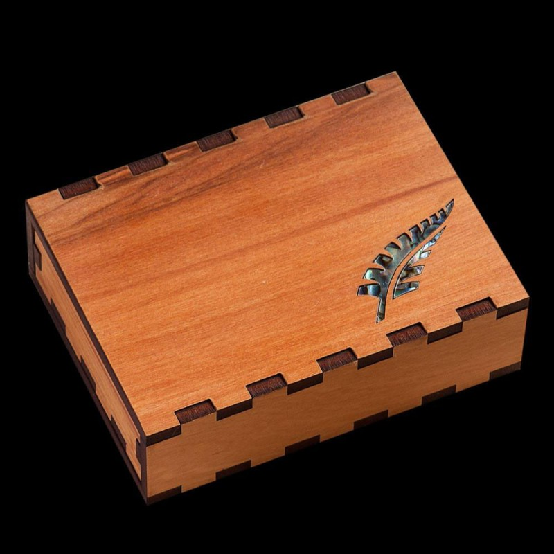 Wooden Slider Gift Box With an Inlayed Fern Leaved Carved in Paua Shell