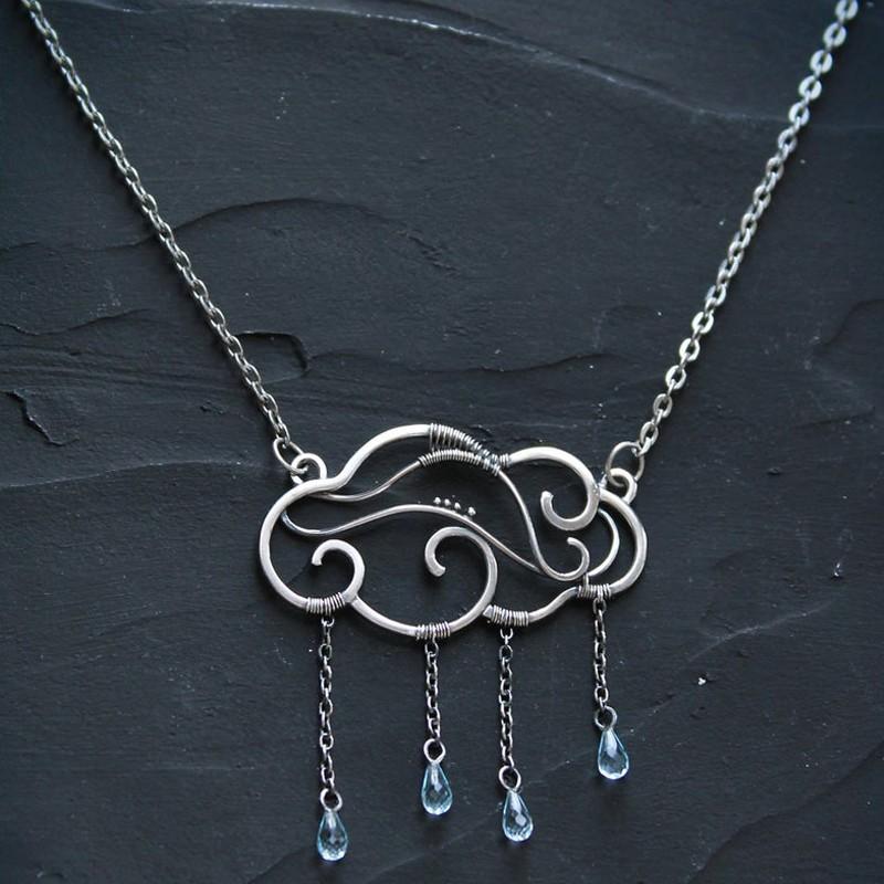 RAIN CLOUD BLUE TOPAZ SILVER NECKLACE