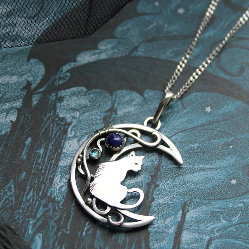 MOON PHASES NECKLACE IN STERLING SILVER WITH LAPIS LAZULI AND LONDON TOPAZ