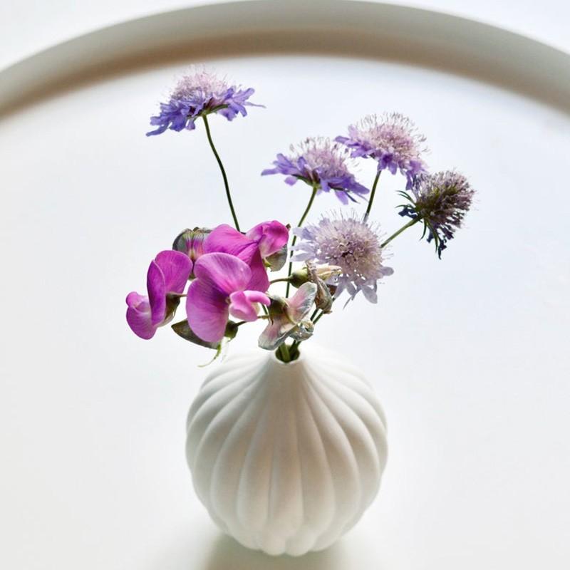 Petite white textured vase