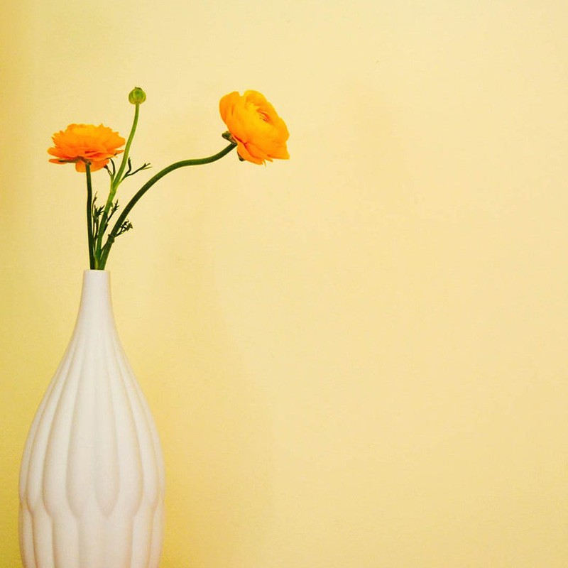 Tall white textured vase