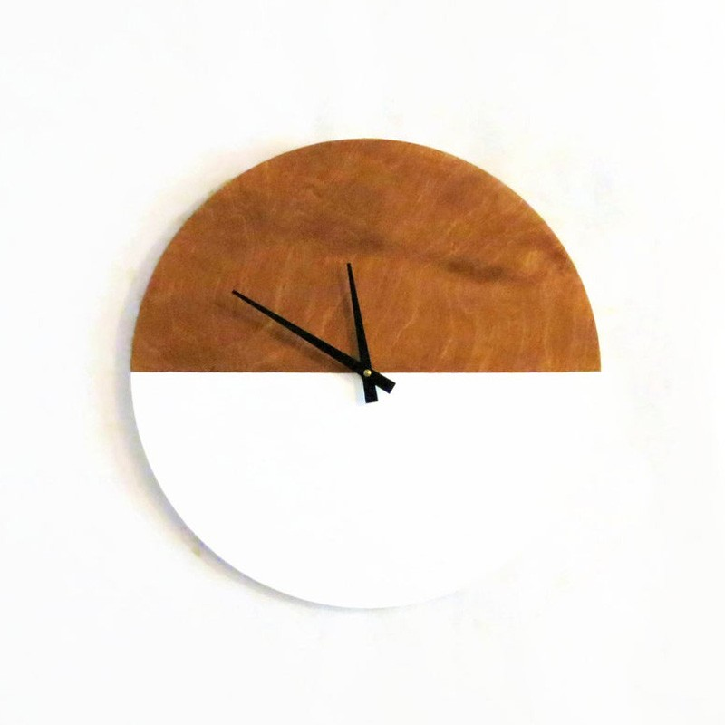 White Sustainable Wood Modern Wall Clock