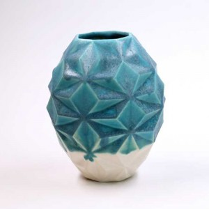 Matte Turquiose & White Vase