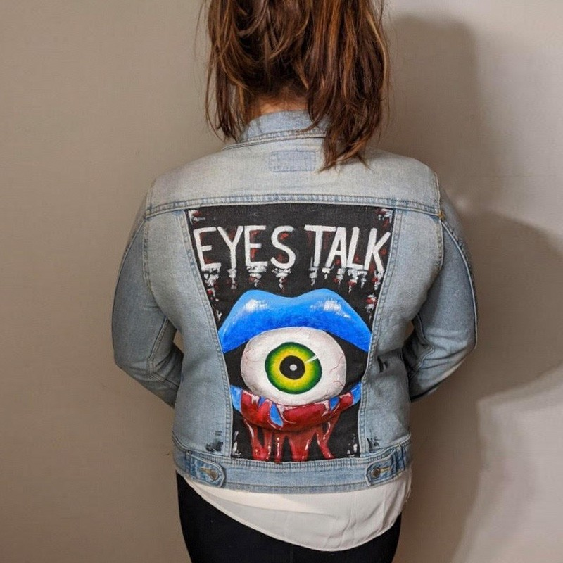 """Eyes Talk"" Handpainted Jacket"