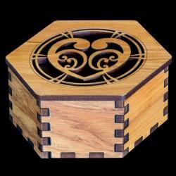 Hexagonal Wooden Heart and Koru Pattern Gift Box