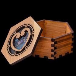 Hexagonal Wooden Heart Patterned Gift Box With Paua Shell Onlay