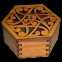 Hexagonal Wooden Kowhaiwhai Pattern Gift Box