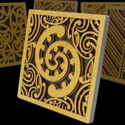 Layered Composite Wood Kowhaiwhai Wall Hanging or Freestanding Tile Called Toru