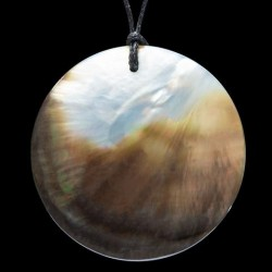 Hand Crafted Pi Pendant Carved in Black Pacific Pearl Shell