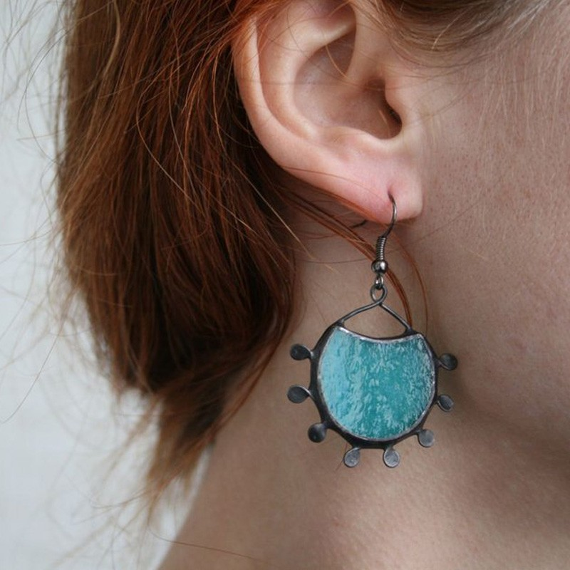 Aqua Blue Fused Glass Earrings