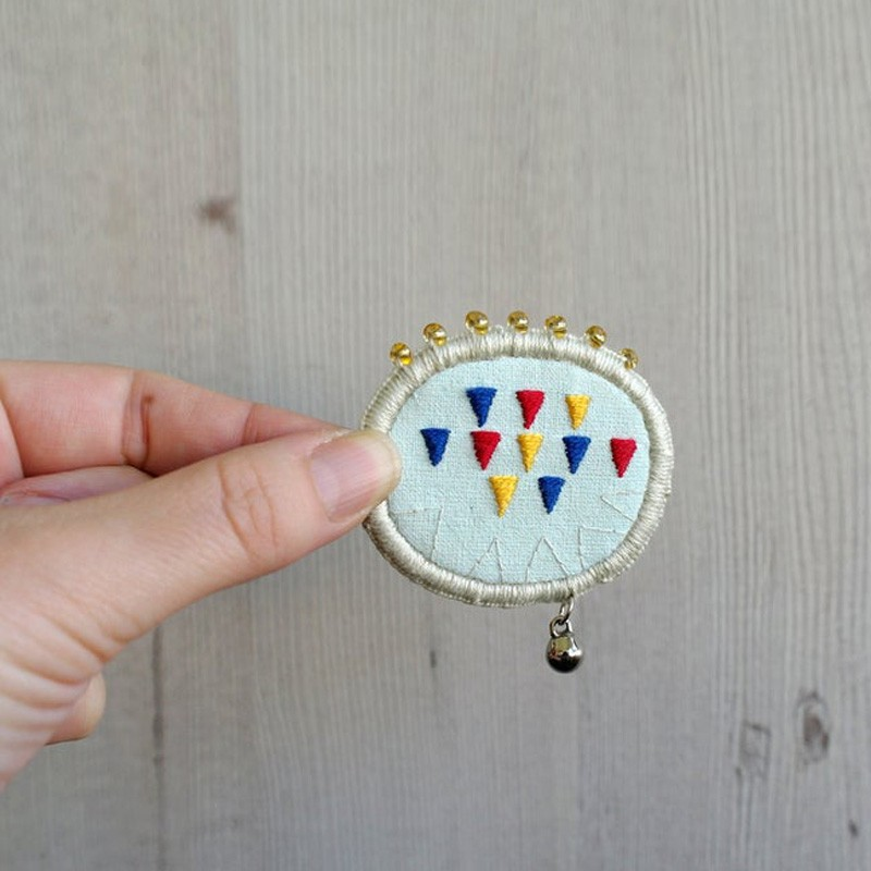 Hand Embroidered Beaded Brooch