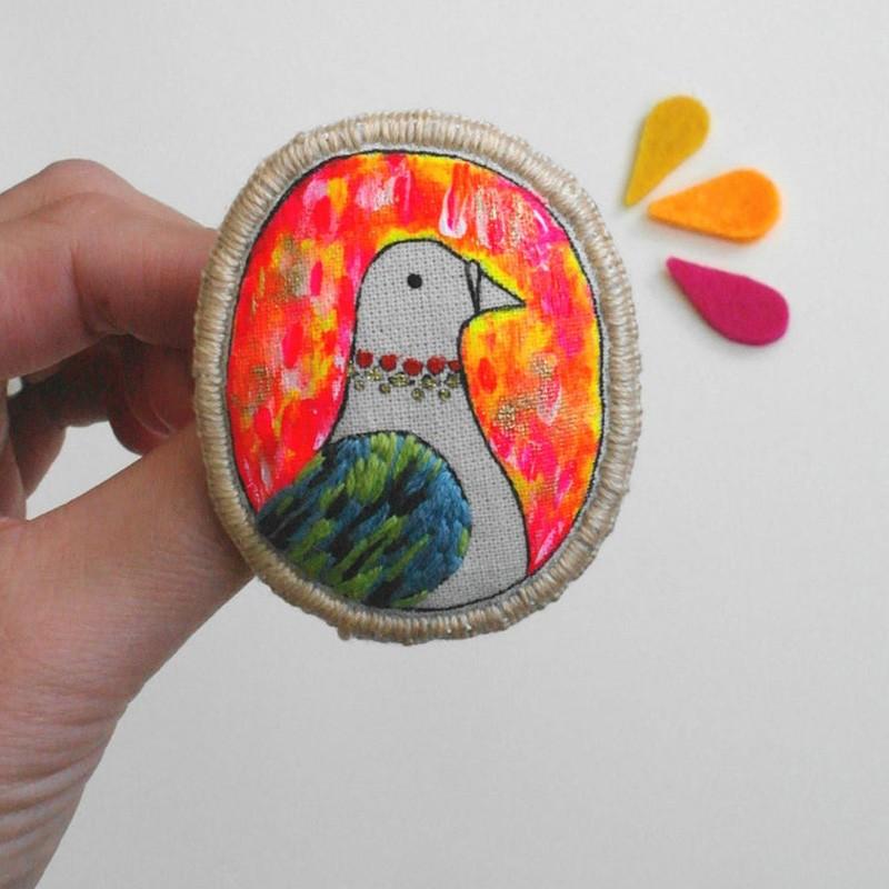 Hand Embroidered Bird Brooch