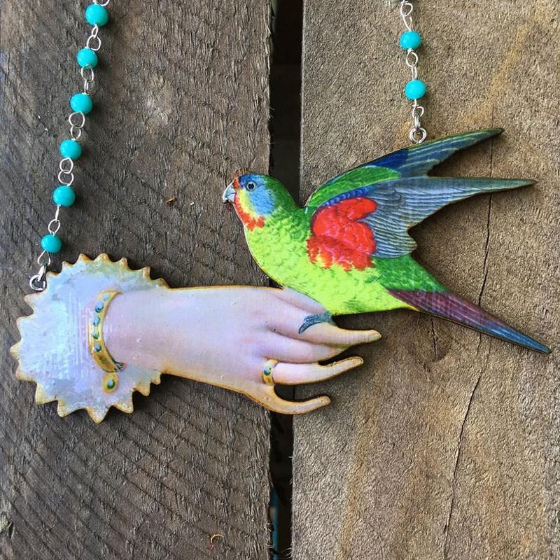 Avant garde jewelry experimental statement bird necklace