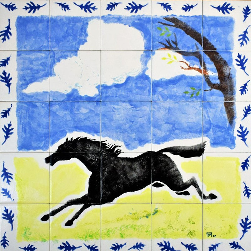 Hand Painted Backsplash Black Horse Tile