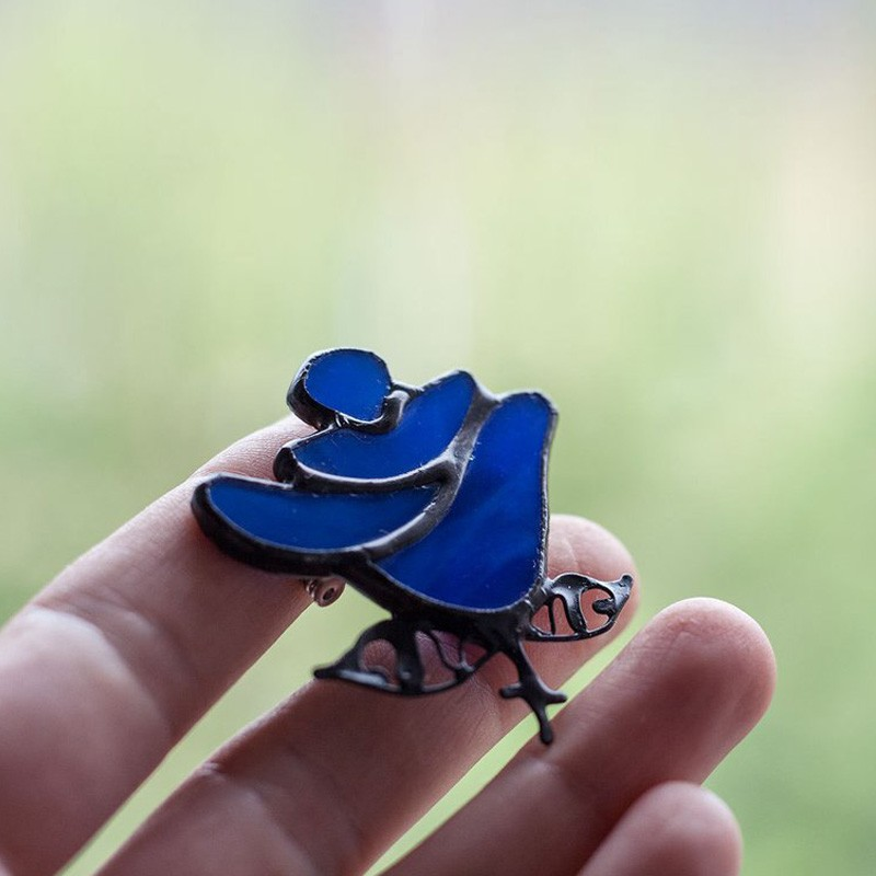 Stained Glass Cobalt Blue Rose Brooch
