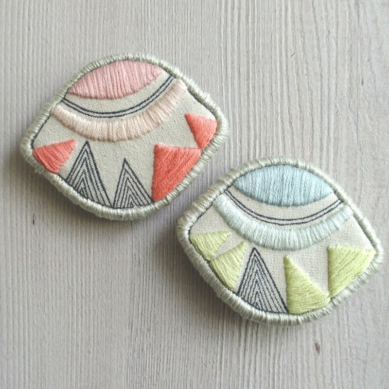 Hand Embroidered Fabric Brooch