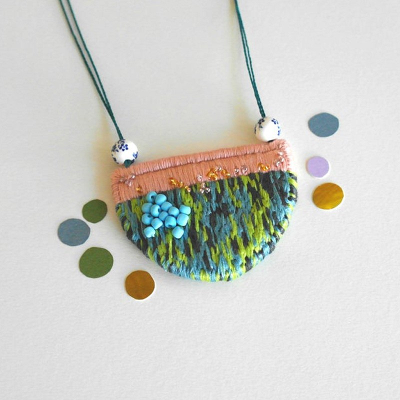 Hand Embroidered Fabric Necklace