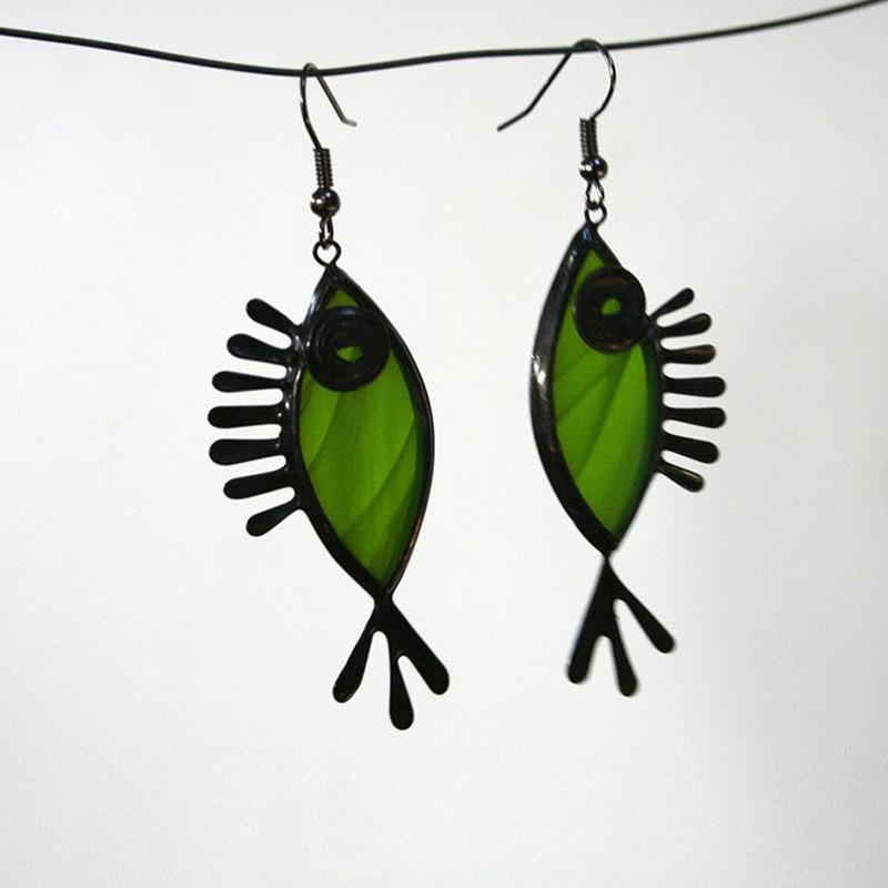 Fish Shaped Metal Glass Earrings