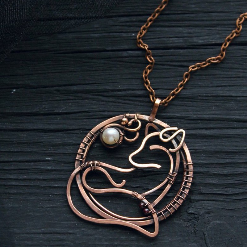 Celtic Fox Necklace in Copper with Wire Wrapped Pendant