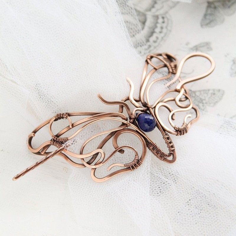Wire Wrapped Butterfly Hairpin