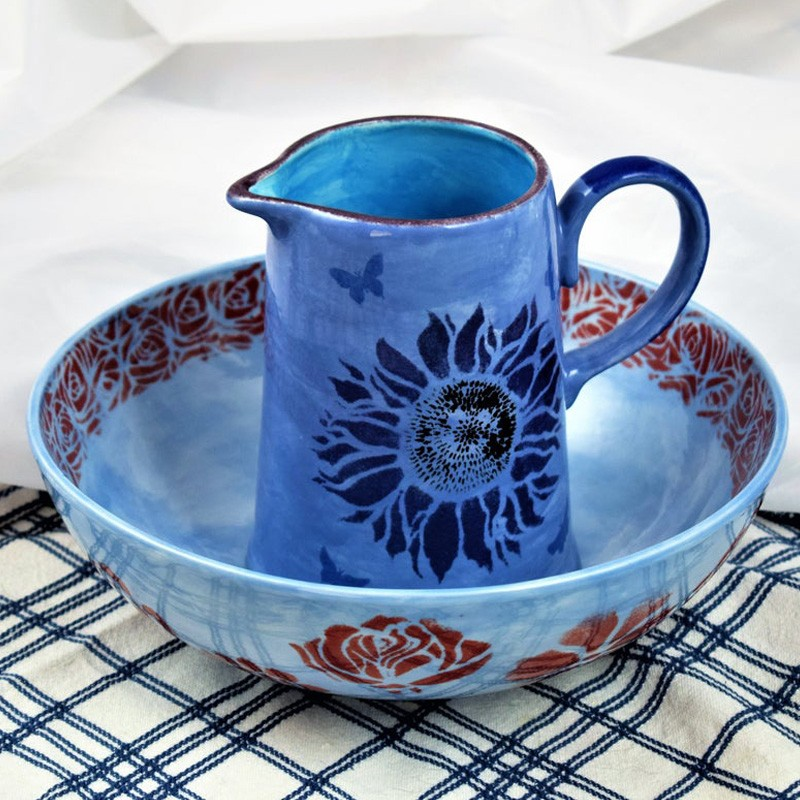Handpainted Blue Jug and Bowl