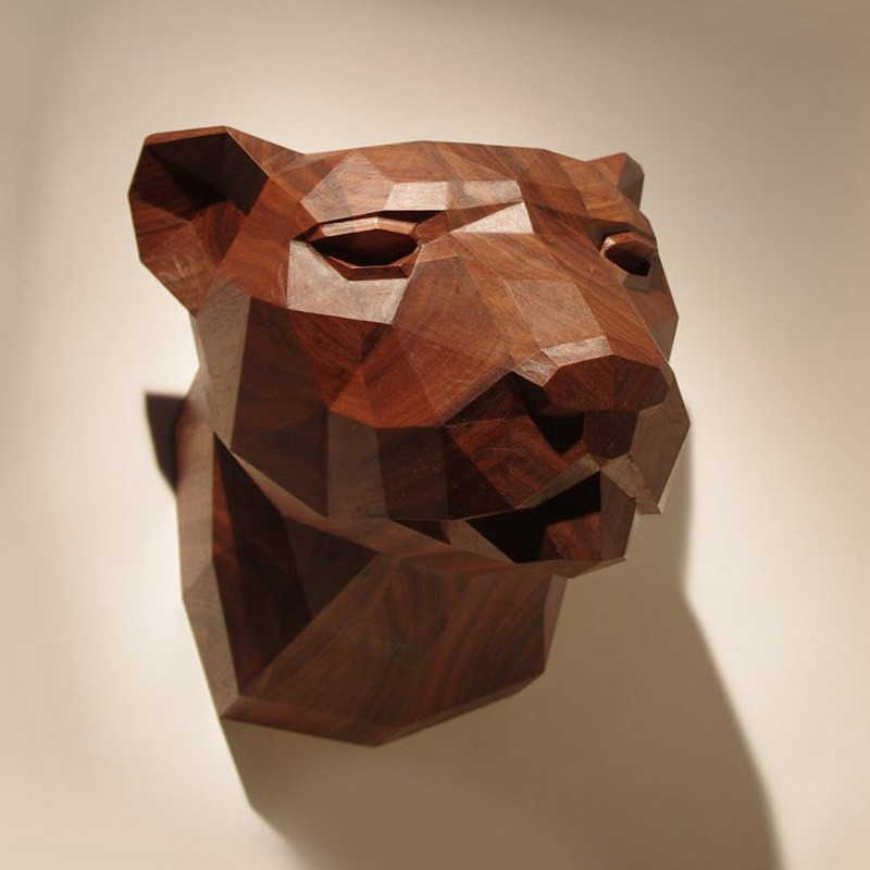 Wooden Leopard Head, Limited Edition