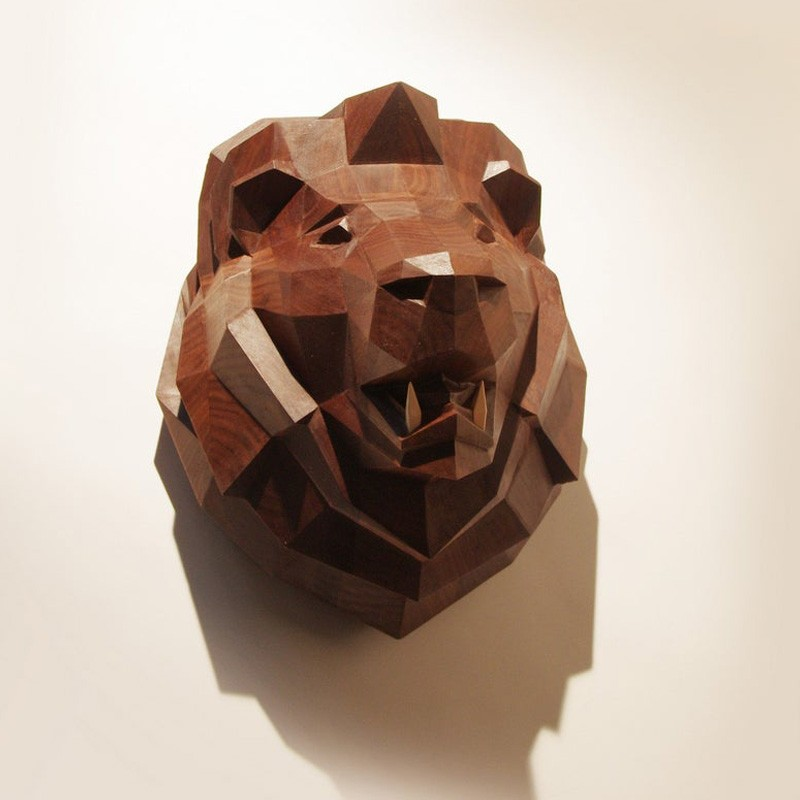 Wooden Lion Head, Limited Edition