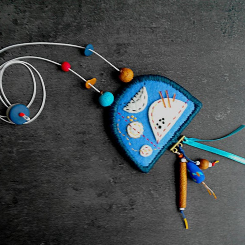 Hand Embroidered Polymer Clay Beaded Necklace