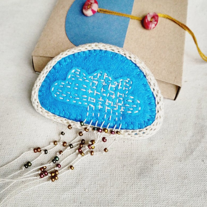 Hand Embroidered Rainy Cloud Brooch