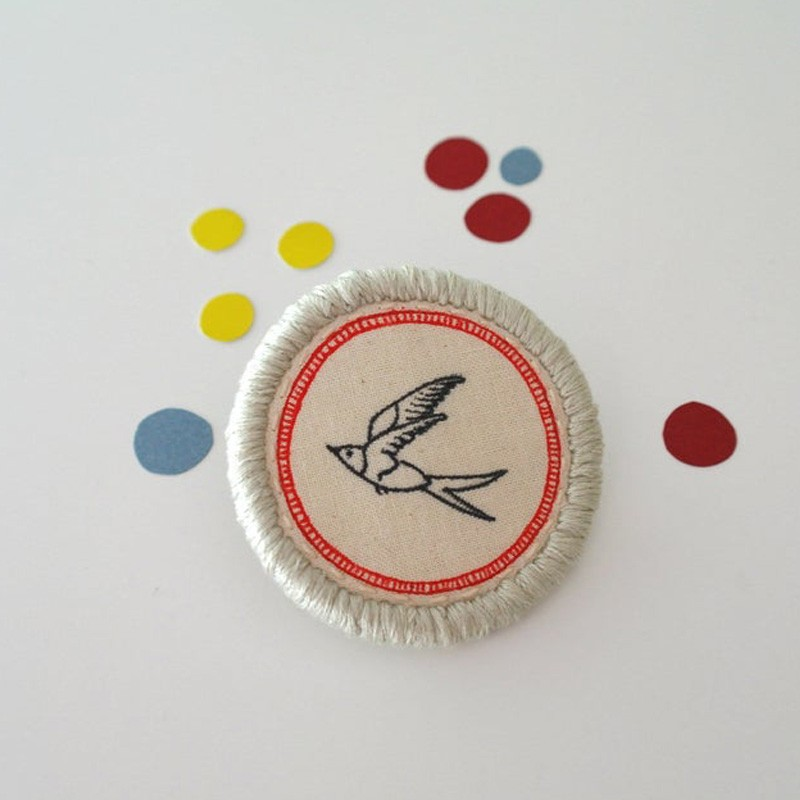 Hand Embroidered Swallow Brooch