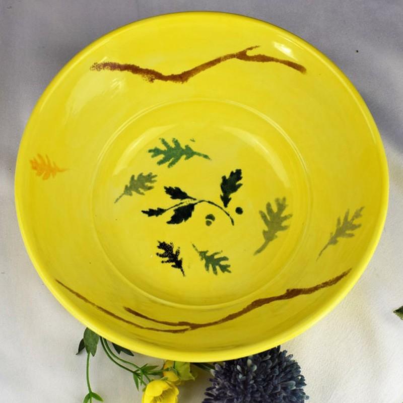 Hand Painted Sun Kissed Yellow Ceramic Fruit Bowl