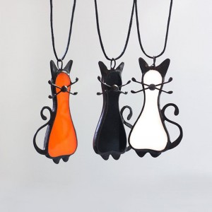 Stained Glass Cat Necklace