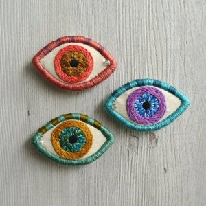Hand Embroidered Evil Eye Brooch