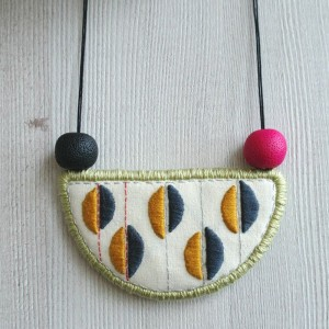 Hand Embroidered Fabric Crescent Necklace