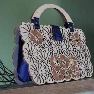 Wooden Floral Evening Clutch