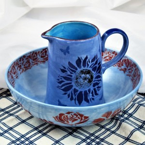 Handpainted Blue Jug and Bowl