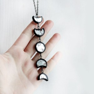 Moon Phases Celestial Recycled Glass Necklace