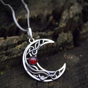 Silver moon pendant Moon phases jewelry Celestian pendant