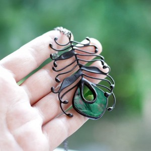 Green Peacock Iridized Feather Necklace