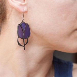 Tulip Stained Glass Earrings