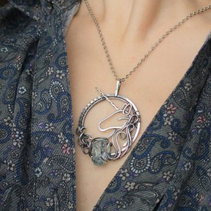 Wire Wrapped Necklace with Unicorn silver pendant with raw crystal